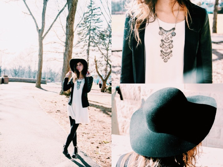 Dress (Brandy Melville); Leggings (Garage Clothing); Floppy Hat (Forever 21); Statement Necklace (Forever 21); Boots (Steve Madden)