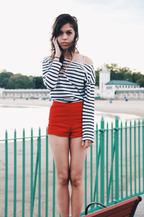 Shirt (H&M); Red Shorts (Forever 21)