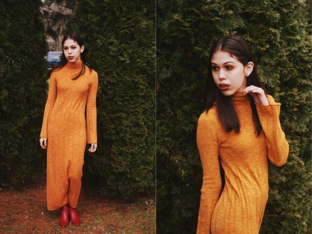 Elizabeth & James Clementine Space-Dye Long Extrafine Wool Turtleneck Dress