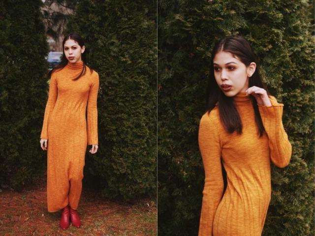 Elizabeth & James Clementine Space-Dye Long Extrafine Wool Turtleneck Dress